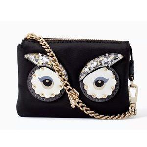 Authentic Kate Spade Nylon glitter eyes S wristlet